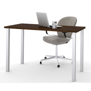 Square Table Legs : Bestar Work Table with Square Metal Legs - Chocolate