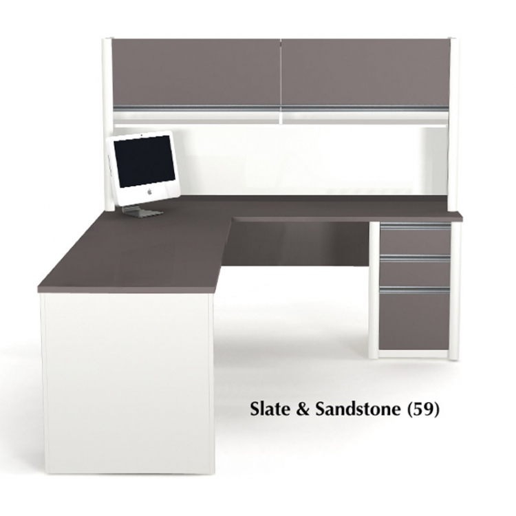 Bestar Connexion L Shaped Workstation With Hutch In 2 Finishes