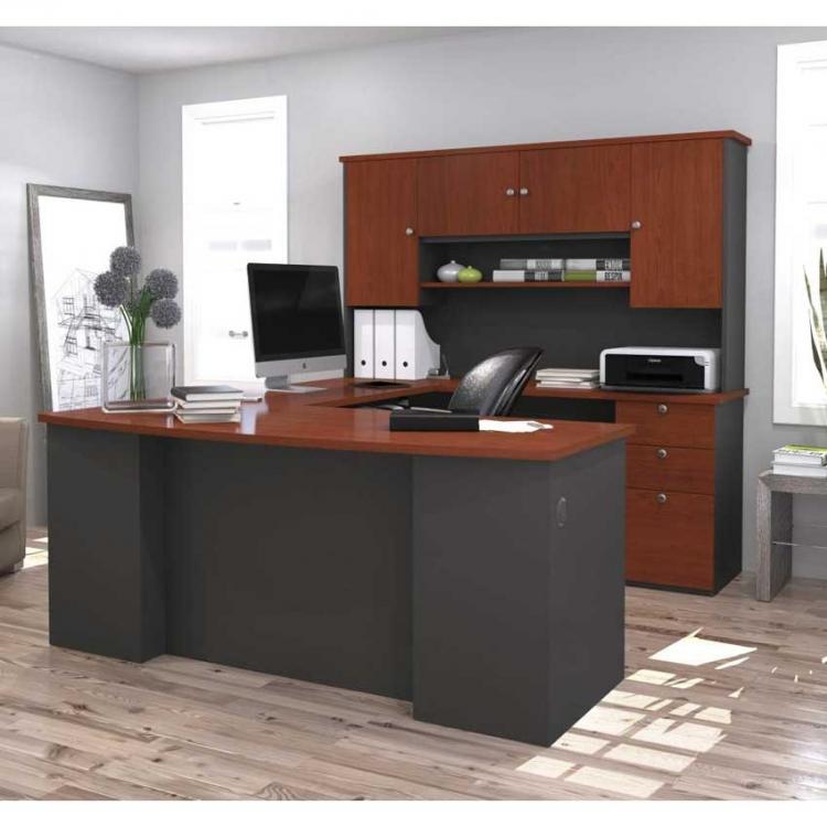 Bestar Manhattan U Shaped Desk In Secret Maple/Chocolate Or  Bordeaux/Graphite