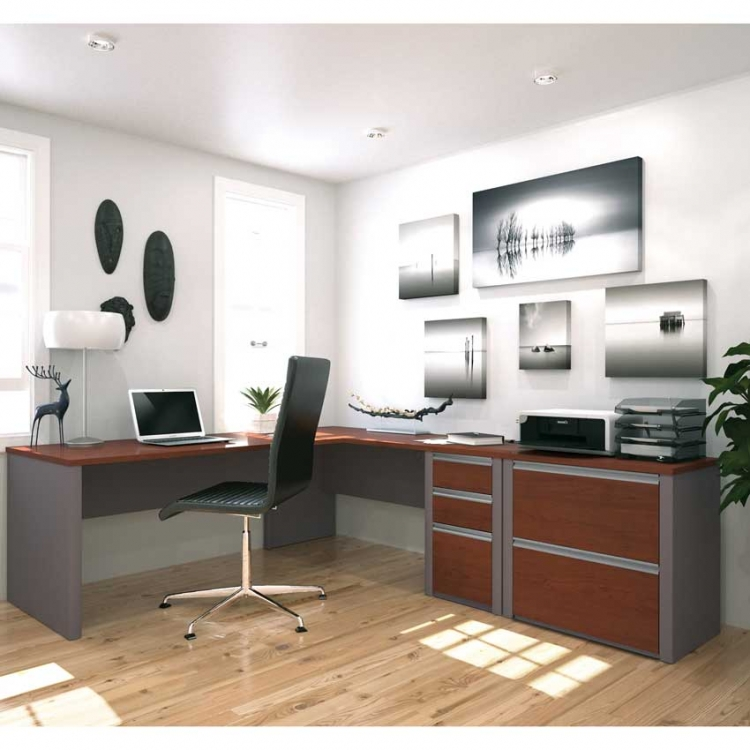 L Shaped Desk For Two bestar connexion l-shaped workstation with lateral file