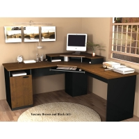 Bestar Hampton Corner Desk - Tuscany Brown & Black