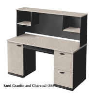 Bestar Hampton Credenza & Hutch - Sand Granite & Charcoal