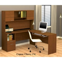 Bestar Flame L Shaped Workstation in Cognac Cherry