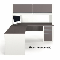 Bestar Connexion L-Shaped Workstation with Hutch in 2 Finishes