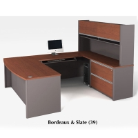 Bestar Connexion U Shaped Workstation & Assembled Oversized Pedestal