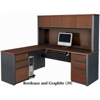 Bestar Prestige Plus L Shaped Workstation Kit w/Assembled Pedestals