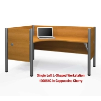 Bestar Pro-Biz L-Shaped Workstation with 3/4 Wall & End Panels