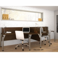 Bestar Pro-Biz Double Side-by-side L-Shaped workstation with 3/4 Wall