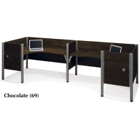 Bestar Pro-Biz Double Back-to-Back L-Shaped Desk with 3/4 Panels