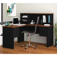 Bestar Somerville L-Shaped desk with Hutch- 2 Finishes