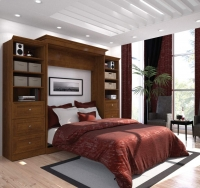 Bestar Versatile 115 inch Queen Wall Bed Kit in Tuscany Brown 40883-63