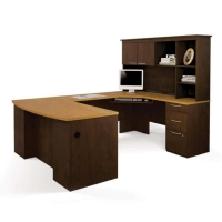 Bestar Hatley U Shaped Workstation in Maple & Chocolate