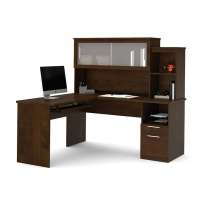 Bestar Dayton L Shaped Desk in Chocolate