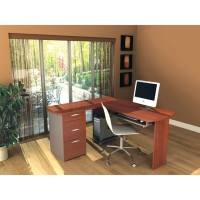 Capri L-shaped workstation in Cognac Cherry
