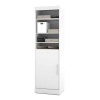 Bestar Nebula 25 in. Storage Unit with Door in White 25162-17