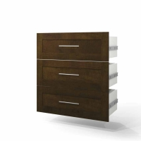 Bestar Pur 36 inch 3-Drawer Set in Chocolate 26161-1169