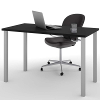 Bestar Work Table with Square Metal Legs - Black