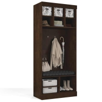 Bestar Pur 36 inch Storage Unit with Bench in Chocolate 26167-69