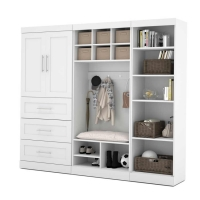 Bestar Pur 97 inch Mudroom Storage Kit in White 26855-17