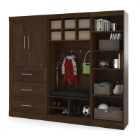 Bestar Pur 97 inch Mudroom Storage Kit in Chocolate 26855-69