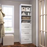 Bestar Pur 25 inch Storage Unit with 3-Drawer Set in White 26871-17