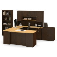 Bestar Manhattan U Shaped Desk With Bookcase in 2 Finishes