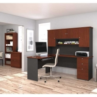 Bestar Manhattan L Shaped Desk With Bookcase in 2 Finishes