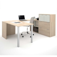 Bestar i3 U Shaped Desk #2 - Northern Maple & Sandstone