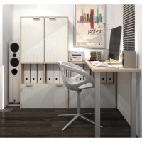 Bestar i3 L-Shaped Desk # 6 - Northern Maple & Sandstone