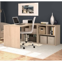Bestar i3 L-Shaped Desk # 7 - Northern Maple