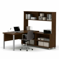 Bestar Pro Linea L-Desk with Hutch - 3 Colors
