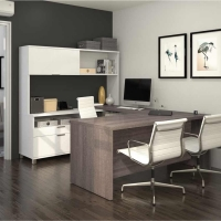 Bestar Pro Linea 2 Tone U-Desk with Hutch - 2 Options
