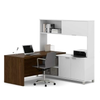 Bestar Pro Linea Two Tone L-Desk with Hutch - 2 Options