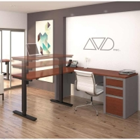 Bestar Connexion L-Desk & Height Adjustable Table - Bordeaux & Slate