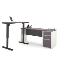 Bestar Connexion L-Desk Including Height Adjustable Table - Slate & Sandstone