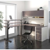 Bestar Connexion L-Desk Kit & Height Adjustable Table-Slate & Sandstone