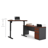 Bestar Prestige+ L-Desk & Height Adjustable Table-Bordeaux & Graphite