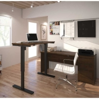 Bestar Prestige Plus L-Desk & Height Adjustable Table -  Chocolate