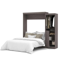 Bestar Nebula 90 inch Queen Wall Bed Kit in Bark Gray 25880-47