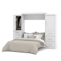 Bestar Nebula 115 inch Queen Wall Bed Kit in White 25884-17