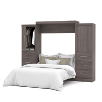 Bestar Nebula 115 inch Queen Wall Bed Kit in Bark Gray 25884-47