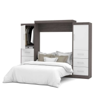 Bestar Nebula 115 inch Queen Wall Bed Kit in Bark Gray & White  25884-4717