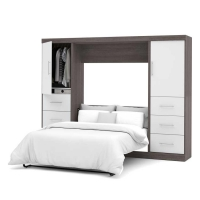 Bestar Nebula 109 inch Full Wall Bed Kit in Bark Gray & White 25894-4717