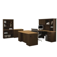 Bestar Hatley U Shaped Workstation Suite in Maple & Chocolate