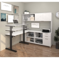 Bestar Pro Linea L-Desk with Hutch & Height Adjustable Table - 3 Colors