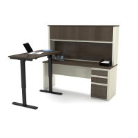 Bestar Prestige Plus L-Desk Kit & Height Adjustable Table -  White Chocolate & Antigua