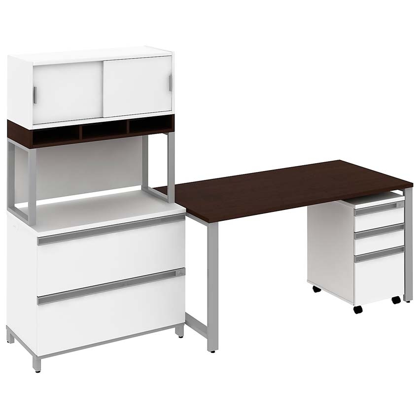 Bush Momentum 60 inch Desk Storage Group with Raised Hutch