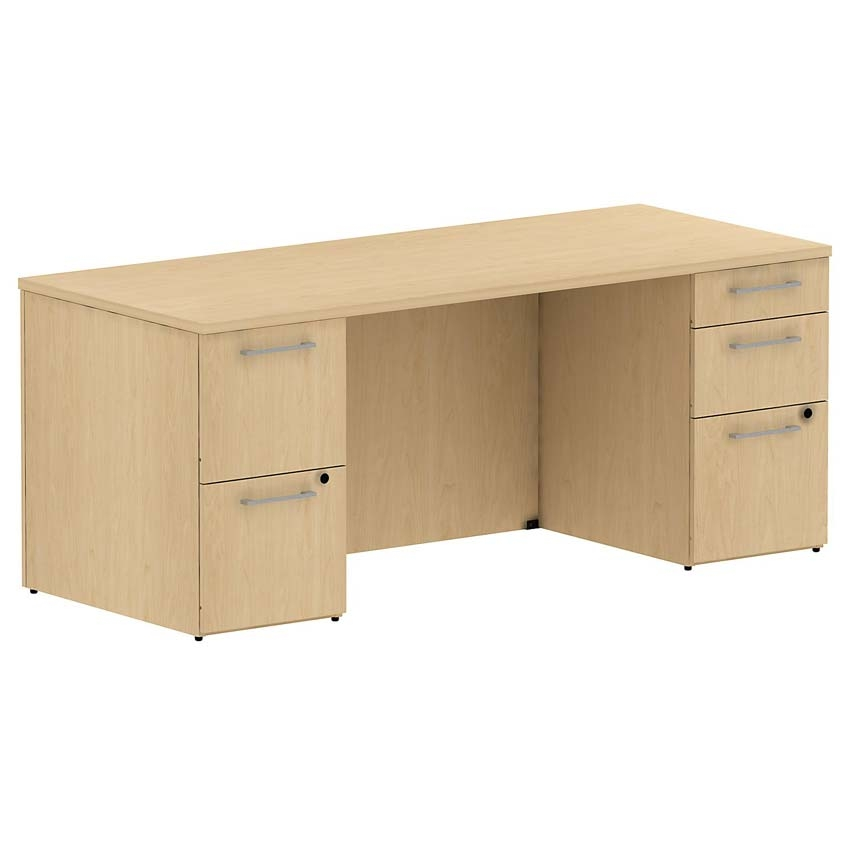 Bush 300 Series 72 Inch Double Pedestal Desk Kit Natural Maple