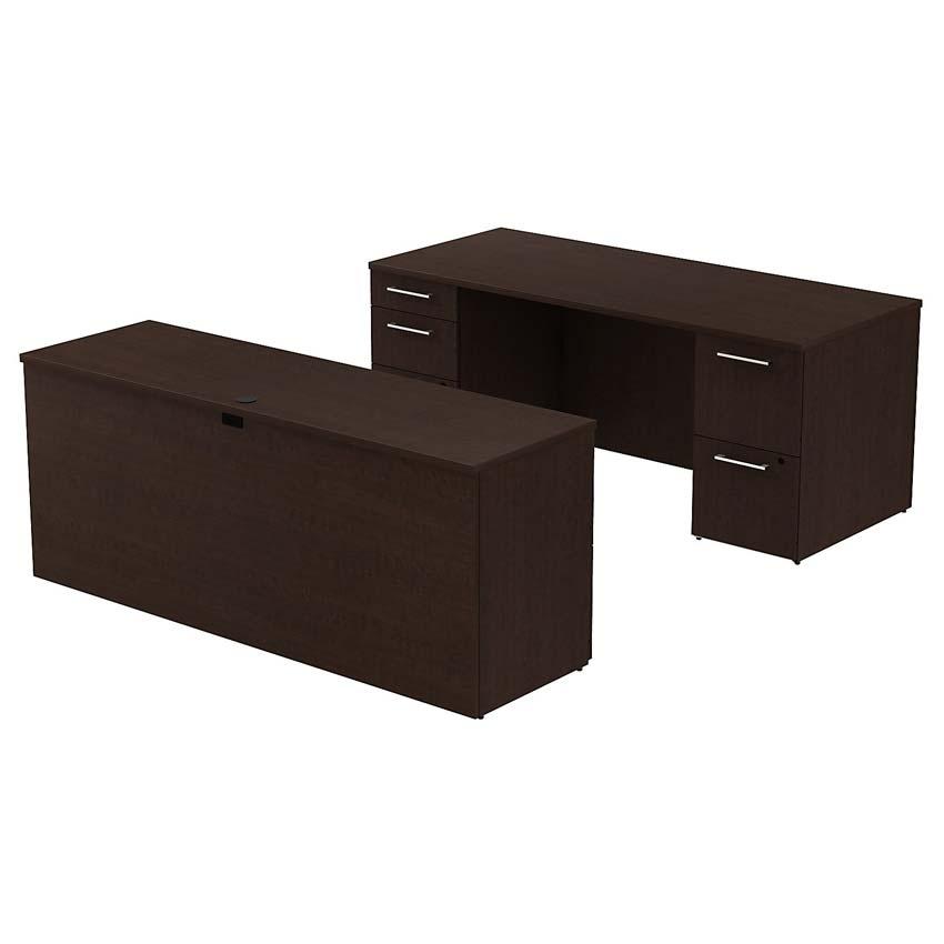 Bush 300 Series 72x30 Inch Double Pedestal Desk With 72