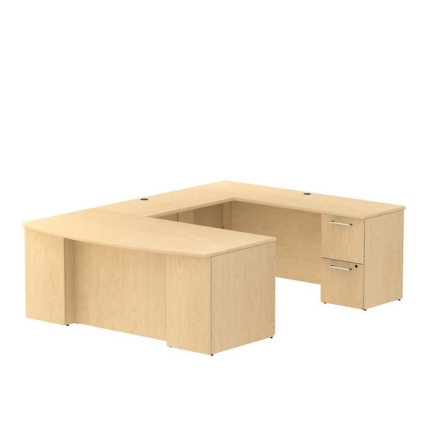 Bush 300 series 72 inch bow front u shaped desk natural maple - Bush desk assembly instructions ...